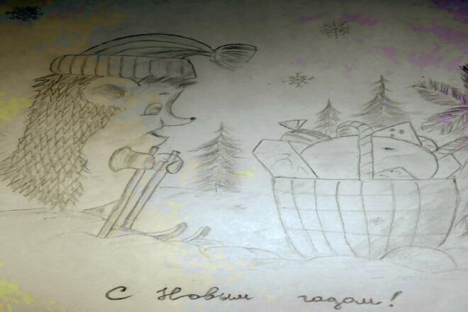 Нарисую иллюстрации в стиле детского рисунка карандашом 1 - kwork.ru
