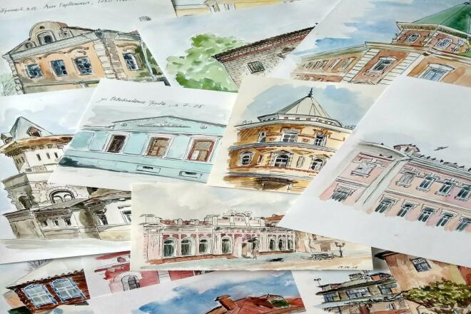 Акварельные открытки с видами вашего города 1 - kwork.ru