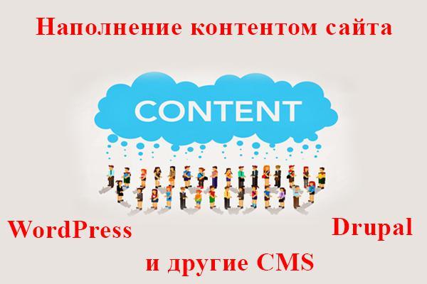 Добавление контента на CMS WordPress или DrupalНаполнение контентом<br>Добавлю статьи или новости на Ваш сайт. Предпочитаю работать с CMS WordPress или Drupal. Но готов обсудить работу и на других CMS. Что вы получите за кворк: Добавление 10 статей на Ваш сайт в течение 2-х дней (объем статьи не более 5000 тыс. символов). Для каждой статьи подбираю качественные фото ( до 3 штук , включая миниатюру). Если присутствуют качественные видео по тематике, делаю скрины и вставляю в статью (получаются уникальные медиа для статьи). Добавление видео по теме. Заполнение мета-тэгов ( Title &amp;amp; Description ) по ключевым словам статьи, если предоставляете их. Если не предоставляете - пишу по статье. Проверяю статью / новость на академическую тошноту и содержания воды в тексте и корректирую статью, если данные показатели превышают норму. Исправление грамматических ошибок через сервис Яндекса. Возможны любые пожелания заказчика на счет размещения статьи! Смотрите дополнительные опции к кворку!<br>