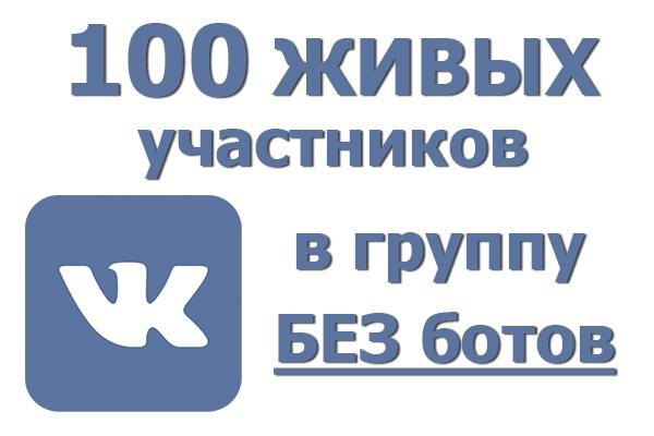 100 живых участников в группу ВК 1 - kwork.ru
