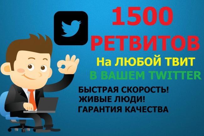 1500 ретвитовПродвижение в социальных сетях<br>Преимущества накрутки ретвитов 1. Это быстро. За короткий промежуток времени репост вашей записи сделает большое количество пользователей. Только представьте, если ретвит сделает пользователь, у которого насчитывается 10 000 или 20 000 фолловеров. Если запись действительно интересная, ваша аудитория может стать больше примерно на такое же количество подписчиков. Не нужно тратить свое время и самостоятельно пытаться получить ретвиты. Сделать это гораздо сложнее, чем, к примеру, обзавестись подписчиками. Рассылать спам также малоприятный способ, который плохо работает и занимает много вашего времени. 2. Чем больше ретвитов, тем большую популярность набирает ваша заметка. Возможно, у вас горячая новость и вы хотите быть первым, кто представит ее публике. Без ретвитов о новости мало кто узнает. 3. Реклама. Например, в вашем интернет-магазине скидки на определенную линейку товаров. Быстро оповестить не только своих клиентов, но и привлечь новых с помощью ретвитов - отличный рекламный прием. Многие интернет-магазины имеют аккаунты в твиттере и таким образом, информируют своих клиентов о поступлении новинок, новостях магазина или проводимых акциях. Для владельцев выгоды очевидны - расширение клиентской базы и увеличение продаж. 4. Привлечение внимания к особо важным записям. Информация может быть интересной, познавательной или шокирующей. При быстром просмотре новостной ленты в твиттере, пользователи первым делом начинают читать записи, которые собрали наибольшее количество ретвитов. Принцип здесь достаточно прост, если другим интересно и заметку так распространяют по сети, значит, она заслуживает, того, чтобы ее прочитали первой. 5. Хотите иметь популярность и собрать вокруг себя свою аудиторию по интересам? Стать настоящей звездой твиттера, чтобы вас цитировали, восхищались и непременно хотели быть вашим фолловером и узнавать о вашей жизни или новых записях первыми? Накрутка ретвитов в твиттере – это то, что вам нужно. Попул