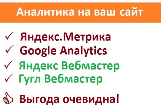 Подключение Яндекс.Метрики и Google Analytics,подключение вебмастеровСтатистика и аналитика<br>В данный кворк входят следующие услуги: Подключение Яндекс.Метрики http://metrika.yandex.ru Подключение Google Analytics Подключение инструмента аналитики Яндекс Вебмастер http://webmaster.yandex.ru Подключение инструмента аналитики Гугл Вебмастер http://www.google.com/webmasters/tools Система счётчиков покажет вам посещаемость сайтов, по каким запросам попали на ваш сайт и прочее. А инструменты вебмастера от Яндекса и Гугл покажут какие ошибки нужно устранить на вашем сайте Обратите также внимание на другие мои кворки: http://kwork.ru/user/chaykin_dxz<br>