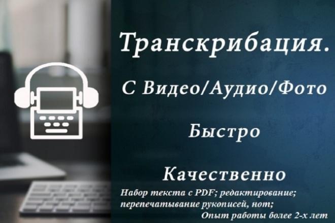 ТранскрибацияНабор текста<br>Предлагаю услуги по расшифровке аудио/видео файлов. Высокая скорость печати. Минимальные сроки, адекватная цена. Опыт работы более 2-х лет. - Судебные дела; - Интервью; - Лекции; - Фокус-группы; - Репортажи; - Передачи.<br>
