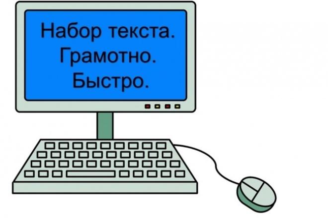 Набор текстаНабор текста<br>Наберу текст на русском языке с любого носителя (фотографии, сканы, рукописный текст и т.д.). Грамотно и быстро. Готовый продукт Вы можете получить в форматах docx и/или pdf.<br>