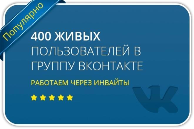 Приглашу 400 живых пользователей в Вконтакте 1 - kwork.ru