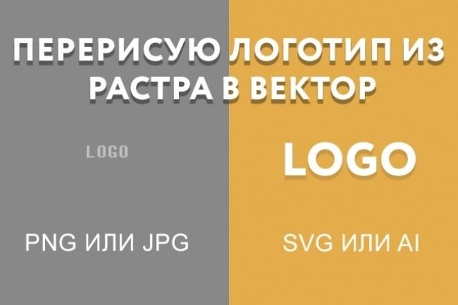 Перерисовать логотип в векторной графикеОтрисовка в векторе<br>Перерисую ваш логотип из jpg или png в svg или ai. Также могу перерисовать логотип с фотографии. Три уровня сложности логотипа: Легкий = 1 кворк. Логотип в виде слова и небольшой эмблемы без теней, градиентов и перспективы. Сложный = 2 кворка. Логотип из слов или фигур, имеющих градиенты, тени, перспективу и т. д. ресайз - бесплатно<br>