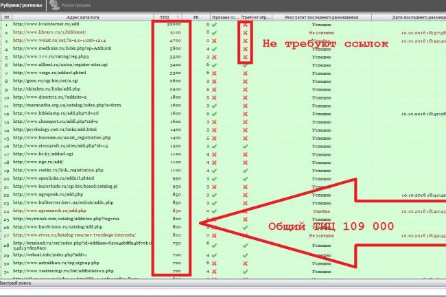 Прогон сайта, по 150-ти каталогам 1 - kwork.ru