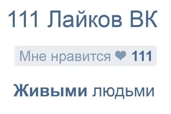 111 лайков ВКонтакте от живых людей 1 - kwork.ru