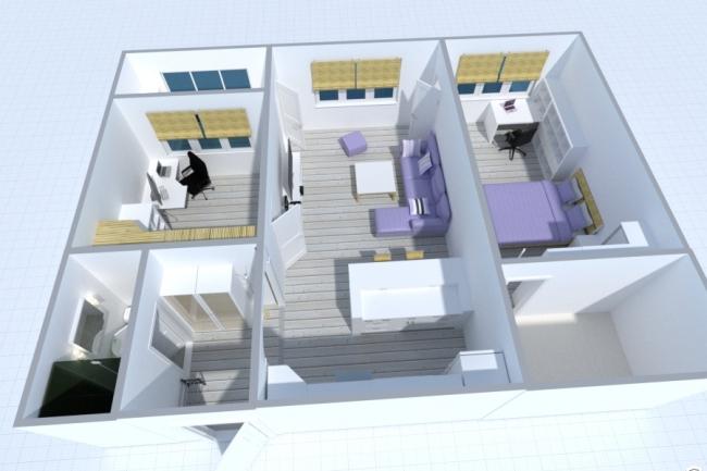 Дизайн квартиры в 2D и 3D - 50 м2 в 1 кворке 1 - kwork.ru