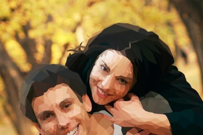 Портрет Low Poly по фотоИллюстрации и рисунки<br>Доброго дня всем! Портрет в популярном стиле Low Poly это изображение с низким количеством полигонов (треугольников, граней) Выглядит эффектно и красиво, может стать стильным подарком для Ваших друзей ) Количество полигонов зависит от качества и размера фотографии.<br>
