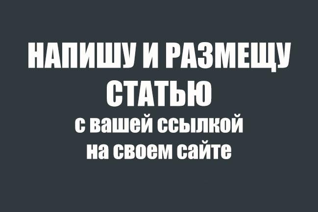 Напишу и размещу статью с Вашей ссылкой на своем сайте 1 - kwork.ru