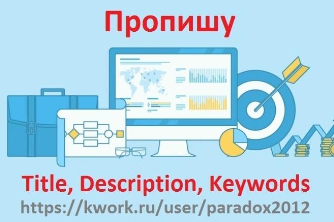 Пропишу Title, Description, KeywordsВнутренняя оптимизация<br>Пропишу Title, Description, Keywords для вашего сайта. Title (тайтл) — самый важный тег для внутренней оптимизации html-кода страниц. ... Физически, содержание тега title - это название страницы, которое отображается в самом верхнем поле браузера. Также содержание title отображается в выдаче поисковых систем по запросам пользователей (это названия ссылок в результатах поиска) . Description — краткое описание страницы. Содержание этого мета тега поисковые системы часто используют в качестве сниппета в результатах поиска. Keywords - Keywords указываются через запятую ключевые слова, которые встречаются на данной странице, а также отображают тематику сайта. ... При составлении Keywords перечень ключевых запросов должен быть свой для каждой отдельной страницы. Все мои остальные Кворк доступны по ссылке: http://kwork.ru/user/paradox2012<br>