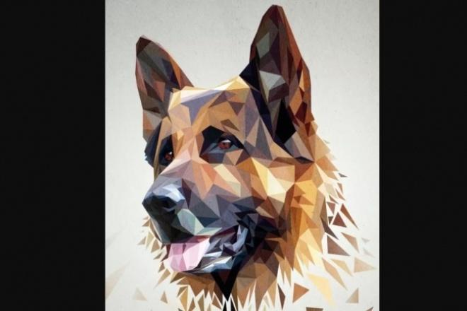 Нарисую портрет вашего любимца в стиле low poly 1 - kwork.ru
