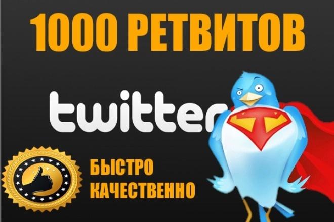 1000 ретвитовПродвижение в социальных сетях<br>1000 ретвитов для Вашей записи в Twitter. Равномерное увеличение числа ретвитов. Ретвиты от живых аккаунтов. Возможен небольшой процент уменьшения числа ретвитов (примерно 5%).<br>