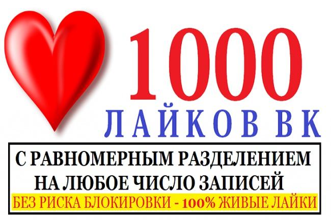 1000 Лайков в группу ВКонтакте с равномерным распределением по записям 1 - kwork.ru