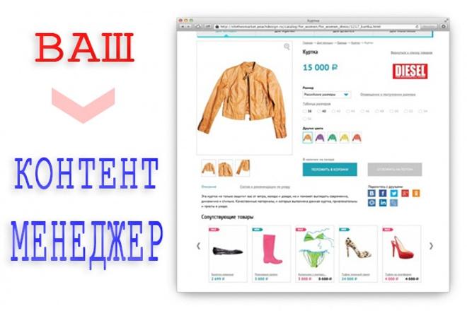 Контент-менеджер. Наполню интернет-магазин, сайт. Опыт 20 лет 1 - kwork.ru