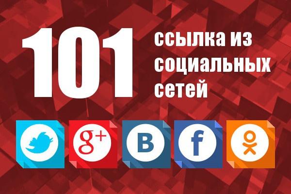 101 ссылка из социальных сетей: ВК, FB, TW, OK и G+   Ручная работа 1 - kwork.ru