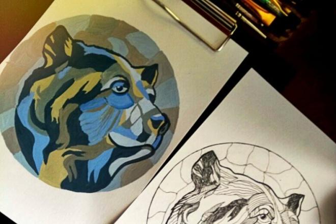 Рисую эскиз к тату 1 - kwork.ru