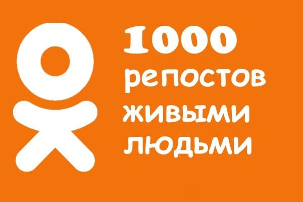 """1000 репостов в """"Одноклассники"""" живыми людьми 1 - kwork.ru"""