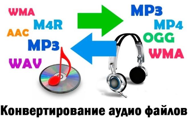 Переконвертирую аудио файлыРедактирование аудио<br>Переконвертирую аудио файлы в любые аудио форматы по Вашему желанию ( mp3, aac, ogg, wma, wav, flac, m4a, amr, ape, m4r и др. ). Сделаю как можно быстрее !<br>
