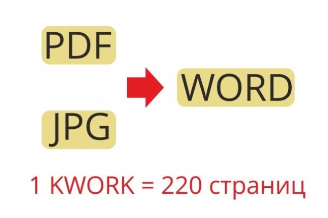 Перевод PDF и jpeg в wordНабор текста<br>Распознавание и извлечение текста из любого материала в word. До 220 страниц за 1 кворк (формат А4). Если в документе есть фото, графики, таблицы и формулы выберите доп.опцию.<br>