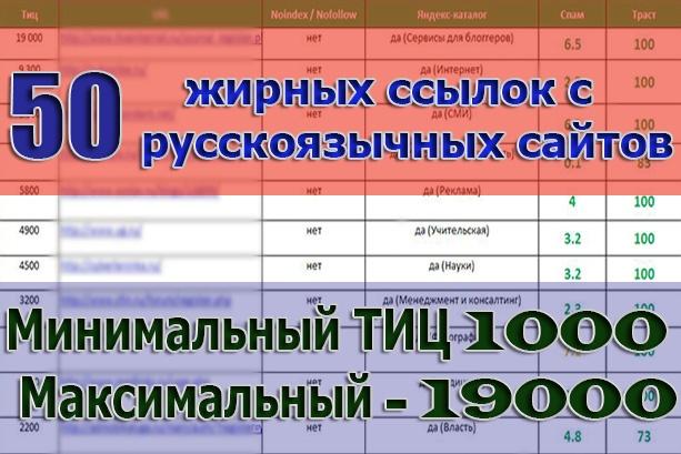 Продажа базы - 50 трастовых сайтов. ТИЦ - 130 000, минимальный - 1000 1 - kwork.ru
