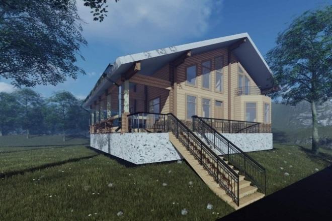 Визуализация экстерьераМебель и дизайн интерьера<br>По модели здания в формате . pln, . dae, . fbx, . obj, выполню визуализацию экстерьера. 4 фотореалистичных картинки в формате . jpg. В цену базового кворка не входит моделирование чего-то в здании. Только присвоение новых материалов заместо используемых вами. Установка деревьев, травы, выставление света. Придача зданию реализма.<br>