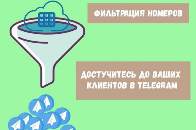 Фильтрация вашей базы номеров телефонов на телеграм 1 - kwork.ru