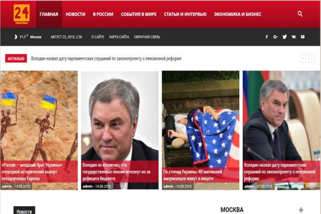 Автонаполняемый новостной сайт - Политика 24 - WordPress 46 - kwork.ru