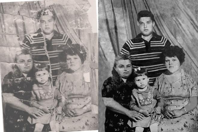 Реставрация корекция фотоОбработка изображений<br>Убрать желтизну старой фотобумаги, царапины, заломы, и другие дефекты фото, обращайтесь и дарите новую жизнь вашим снимкам.<br>