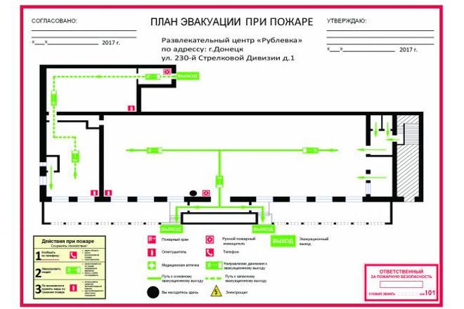 План Эвакуации при пожареИнжиниринг<br>План эвакуации в соответствии с гост План эвакуации 1 этажа до 700м2 На выходе план эвакуации в формате .jpg, .TIFF<br>