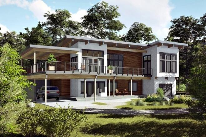 Создам 3d визуализацию экстерьера зданий, домовМебель и дизайн интерьера<br>3d эскиз экстерьера дома. До 100 м2. С указанными вами текстурами материалам. С соблюдением всех размеров и норм. В итоге вы получите эскиз в двух ракурсах.<br>