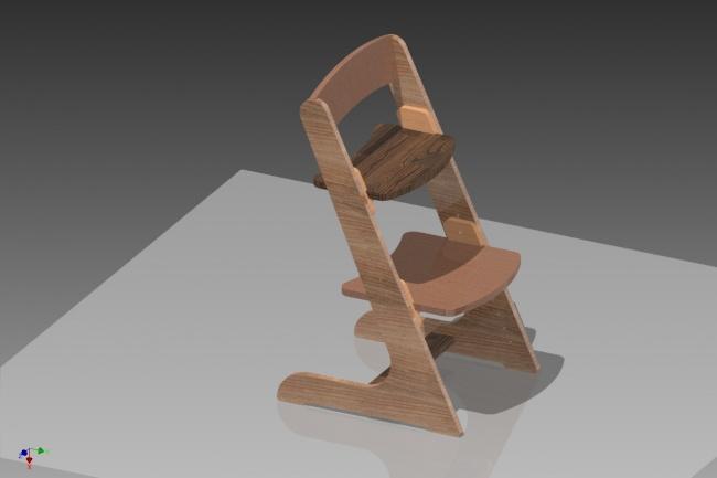 Файл раскроя детского регулируемого стула из фанерыИнжиниринг<br>http://www.youtube.com/watch?time_continue=4&amp;amp;v=J81uUxJeUFc вот такой стул, вы получите ракрой этого стула в виде файла в DWG или CDR или DXF его вырежут в любой мастерской где режут фанеру на фрезере или лазере. Возможно изготовление в ручную по шаблону с чертежа,с файла PDF например.<br>