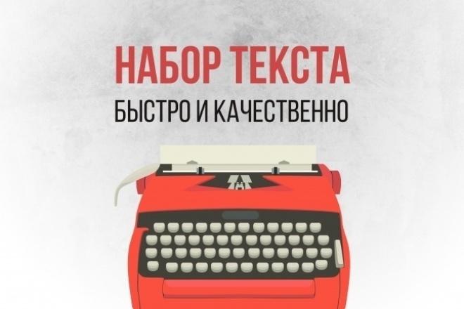 Набор текста, перевод аудио-, видеоматериала в текстНабор текста<br>Принимаются все виды текстов на русском языке. Фото, скан, рукописный, видео и аудио файлы. Также можно оформить стилистически.<br>