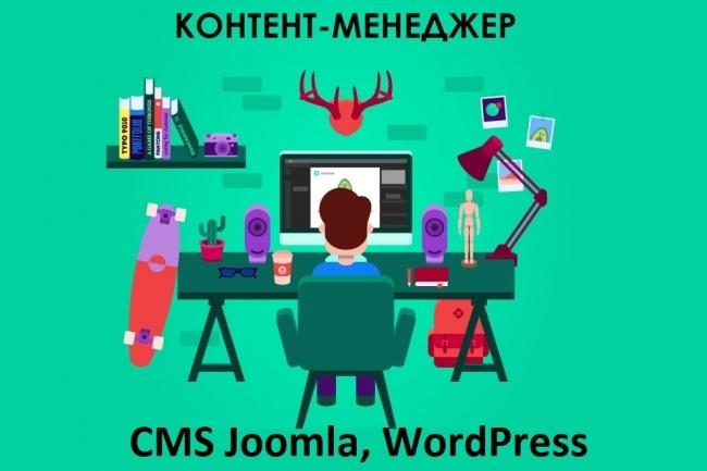 Контент менеджер CMS Joomla, WordPressНаполнение контентом<br>Опыт работы с сайтами с 2012 года. В рамках этого кворка: Работа с сайтами CMS Joomla, WordPress Наполнение его готовыми статьями (8 шт. ) Для каждой статьи миниатюра + 3-5 картинок (ищу сам или можете предоставить). Все картинки будут оптимизированы под ПС Расстановка заголовков H1, H2, H3 Написание description для каждой статьи (по 160 символов) В итоге Вы получаете 8 оформленных статей со всеми заголовками, изображениями, абзацами, стилями и т. п.<br>