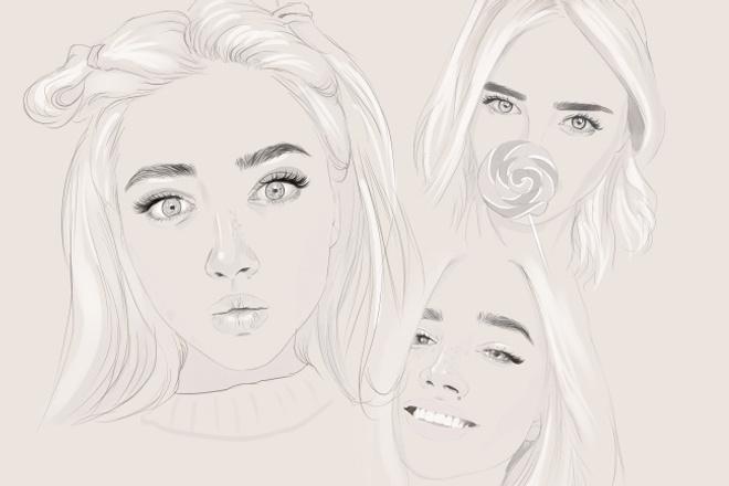 Цифровой скетч-портрет 1 - kwork.ru