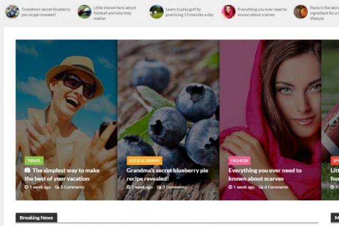 Уникальный шаблон  6 в 1 Wordpress для туризма, блога 1 - kwork.ru