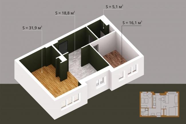 Создам 3д модель квартиры, дома или коммерческого объекта 1 - kwork.ru