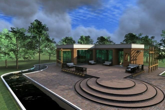 Создам визуализациюМебель и дизайн интерьера<br>Сделаю качественную визуализацию экстерьера вашего проекта с ландшафтным наполнением . На ваш выбор программы Artlantis, 3Dmax, Cinema 4D. На фото визуализация в Artlantis, модель из Archicad 13.<br>