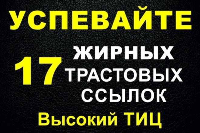 17 жирных вечных ссылок с трастовых сайтов с Высоким ТИЦ 1 - kwork.ru