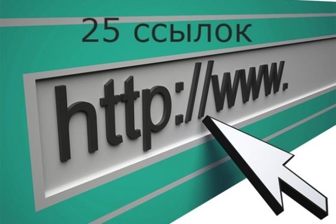 25 вечных жирных ссылок на Ваш сайтСсылки<br>25 вечных ссылок на трастовых сайтах. Тематики сайтов разные, база собиралась по показателям тиц, траст, спам (данные по этим показателям в отчете). Большинство сайтов-доноров есть в основных каталогах (Янндекс, Гугл, Мэйл и т.д.) 1. Высокий тиц сайтов 150.000 2. Польза для Google и Яндекса одинакова. 3. Ссылки размещаются исключительно вручную. 4. Профиль заполняется на 100 %. 5. Создается отдельная почта для регистрации Сделав заказ Вы получаете: 1. Рост по НЧ и СЧ. 2. Размещаются вручную и навсегда. 4. Растет общий рейтинг сайта. 5. Высокие показатели ТИЦ и PR. Предоставляю полный отчет со всеми показателями по ЧекТрасту.<br>
