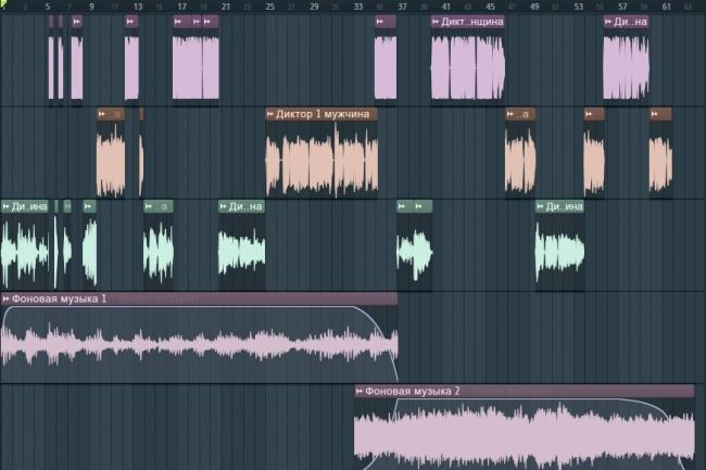 Любая обработка аудиоРедактирование аудио<br>- Склеивание из нескольких аудио в одно - Наложение фоновой музыки и тому подобное - Нарезка по заданным интервалам времени (например, 0:04-0:12, 1:31-3:57, примерно с 0:40 со слова ...) - Удаление пауз, молчания (например, в записи аудиокниги) - Ускорение или замедление записи - Синхронизация аудио с видео - Работа с громкостью (появление, затухание, поднятие общего уровня громкости, регулирование громкости на разных участках и тому подобное) - Изменение высоты тона аудио - Частотная обработка (сделать побасовее, выделить голос и тому подобное) - Чистка от шумов, посторонних звуков - Моно в стерео - Аудио из видео - Конвертирование в любой аудиоформат<br>