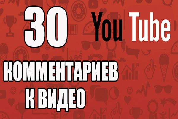 30 комментариев к видеоПродвижение в социальных сетях<br>Комментарии живых людей к вашим видео.Описываете задание, даете ссылку на видео (можно несколько) и исполнители приступают к работе.<br>
