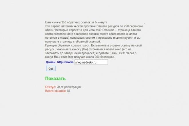 Автоматически прогоню ваш ресурс по 250 сервисам whois 1 - kwork.ru