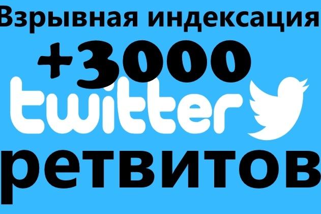 Взрывная индексация - 3 000 ретвитов + бонусПродвижение в социальных сетях<br>По скольку twitter одна из самых больших и популярных социальных сетей. И именно социальные сигналы и твиты помогут нам проиндексировать любую страницу вашего сайта на много быстрее. Что мы можем вам предложить за 500 рулей? Одно из самых больших предложений +3 000 ретвитов. Мы сможем помочь вам в быстром и качественном ускорении индексации страниц вашего сайта. + Бонусом я расскажу вам как самому добавлять себе ретвиторв, это мой отдельный кворк, но здесь я расскажу вам это бесплатно в скайпе. Консультация займет 15 минут, это конечно по желанию.<br>
