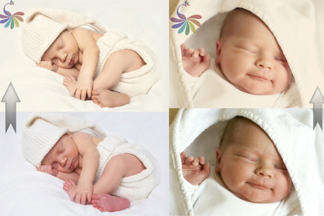 Профессиональная ретушь фото новорожденных 1 - kwork.ru