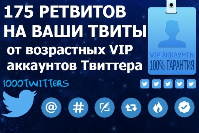Сделаю +175 ретвитов на Ваши твиты от возрастных прокачанных аккаунтов за 500 руб