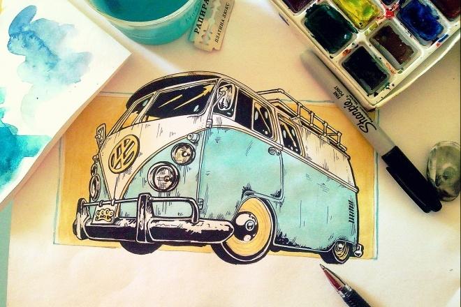 Иллюстрация авто акварелью 1 - kwork.ru