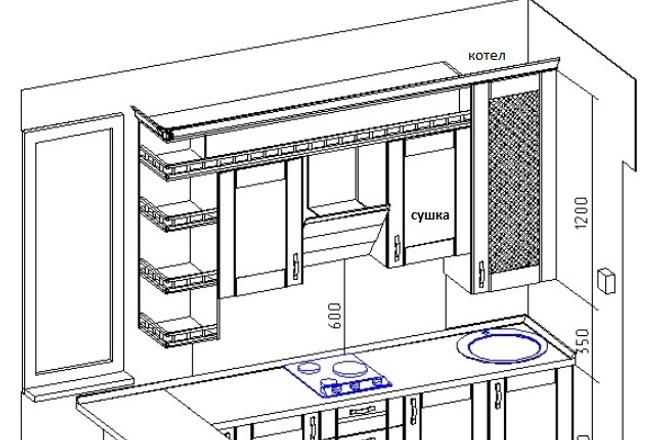 Дизайн-проект кухни/прихожки/гардеробной 1 - kwork.ru
