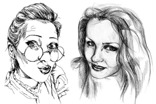 Нарисую графический портрет по фотоИллюстрации и рисунки<br>Цифровой портрет в одном цвете (под тушь/карандаш), выполняется в программе Adobe Photoshop с помощью графического планшета Wacom Bamboo. От вас требуется только фото!)<br>